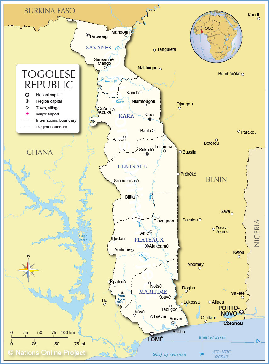 Administrative Map of Togo (Togolese Republic) - Nations Online Project