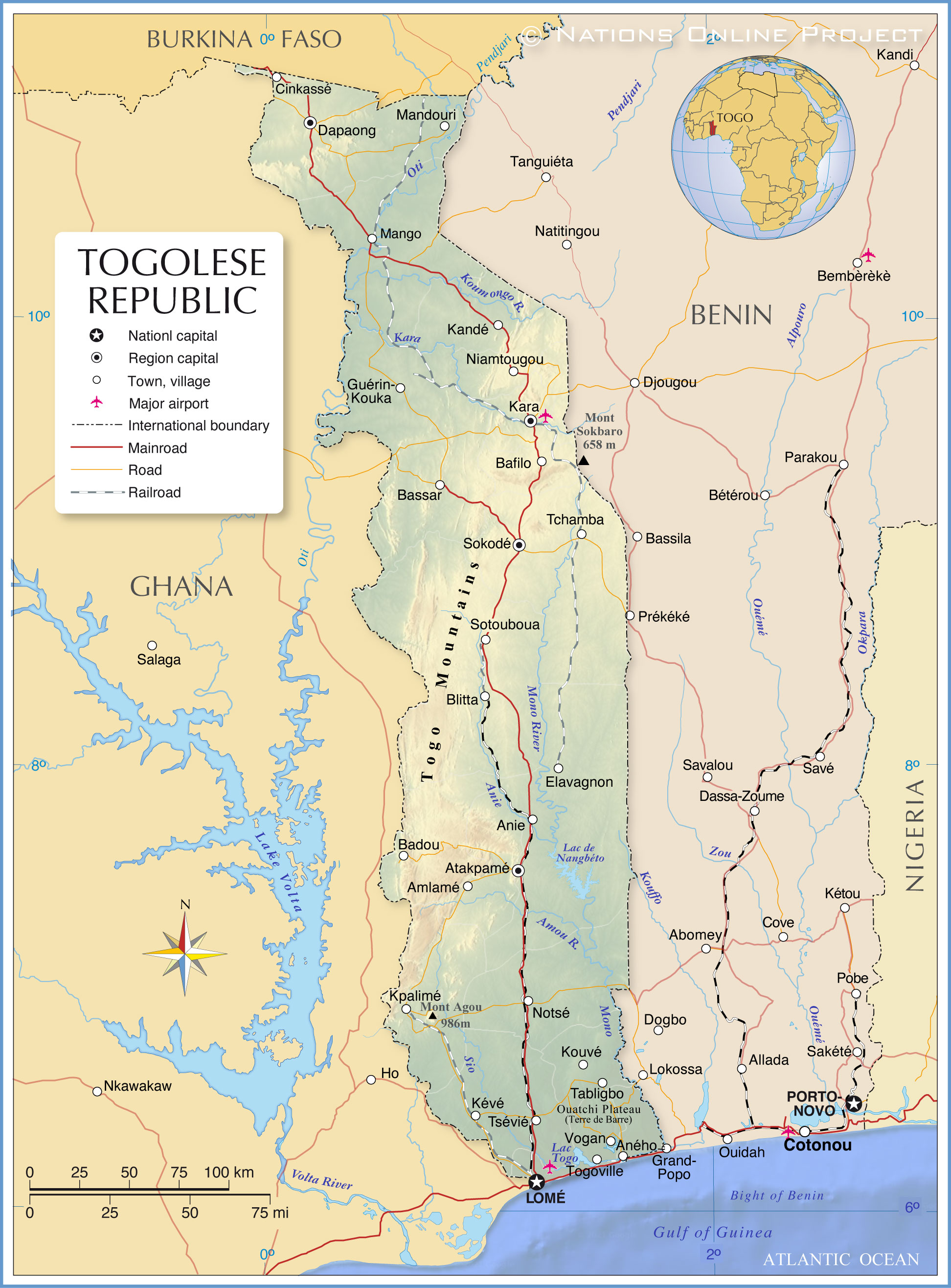Togo map. Highly detailed vector map of togo with administrative ...