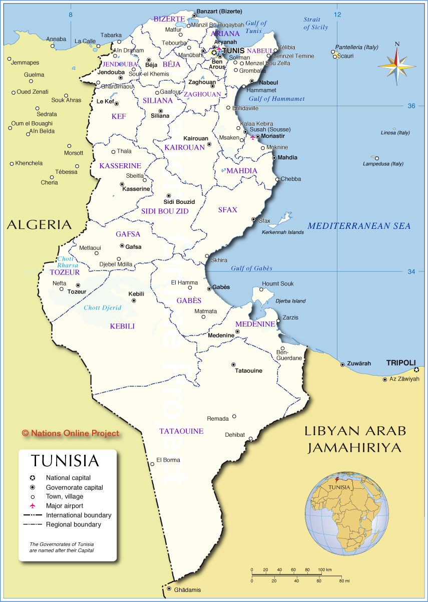 Administrative Map Of Tunisia Nations Online Project - Tunisia country political map