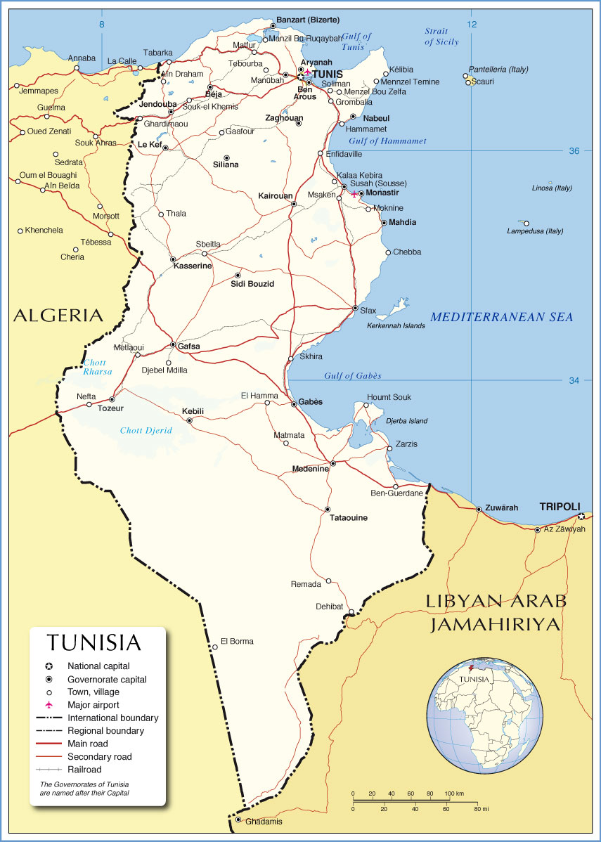 Political Map of Tunisia 1200 pixel Nations line Project