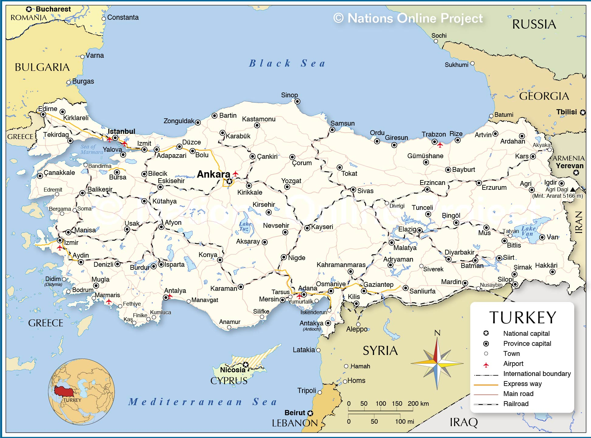 Political Map Of Turkey Nations Online Project - Turkey map