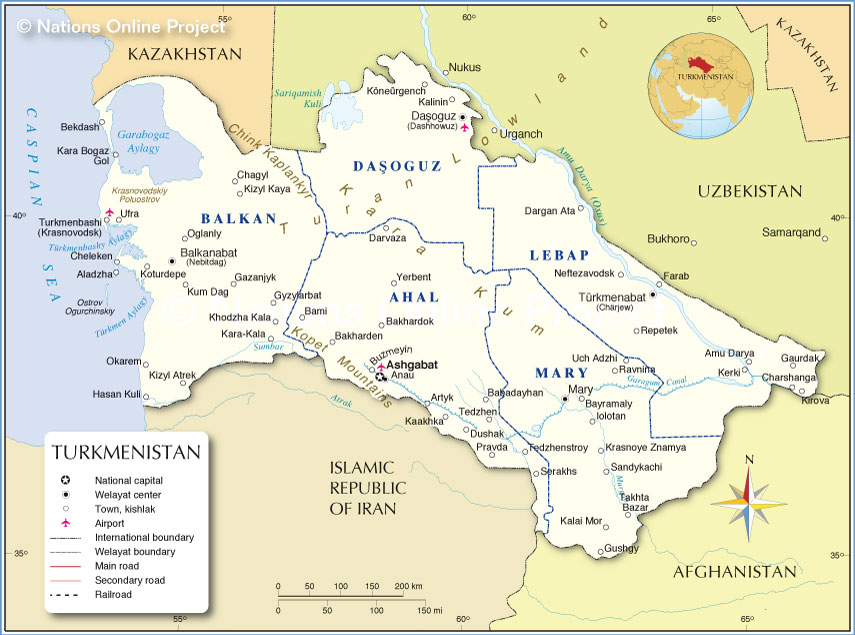 Administrative Map of Turkmenistan Nations Online Project