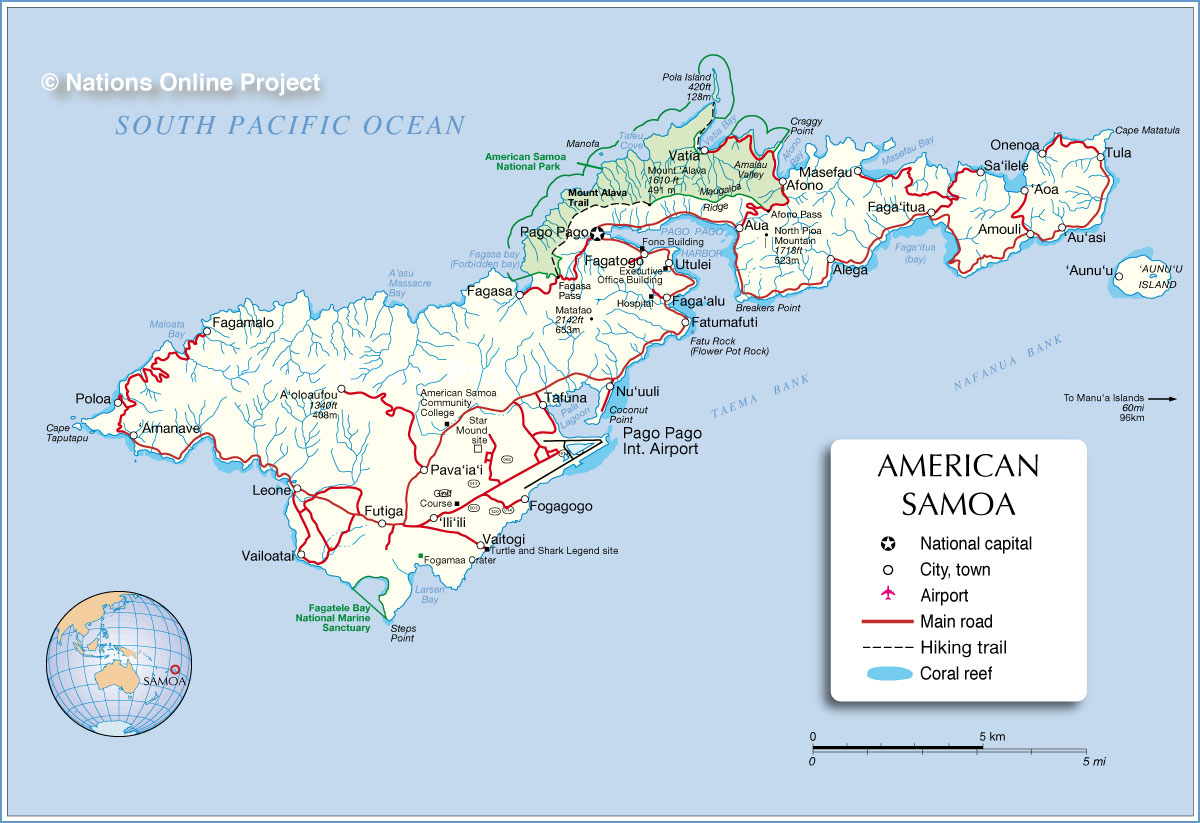 Map of Tutuila island, American Samoa - Nations Online Project