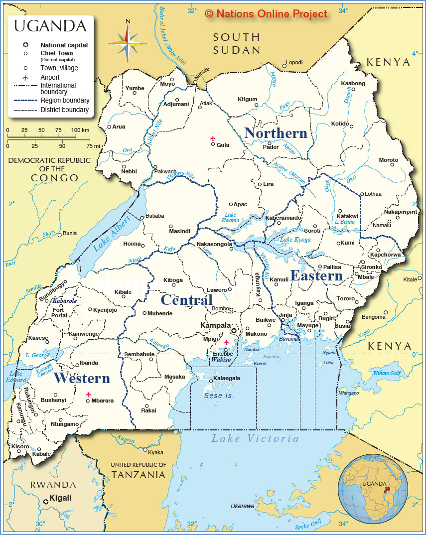 Administrative Map Of Uganda Nations Online Project