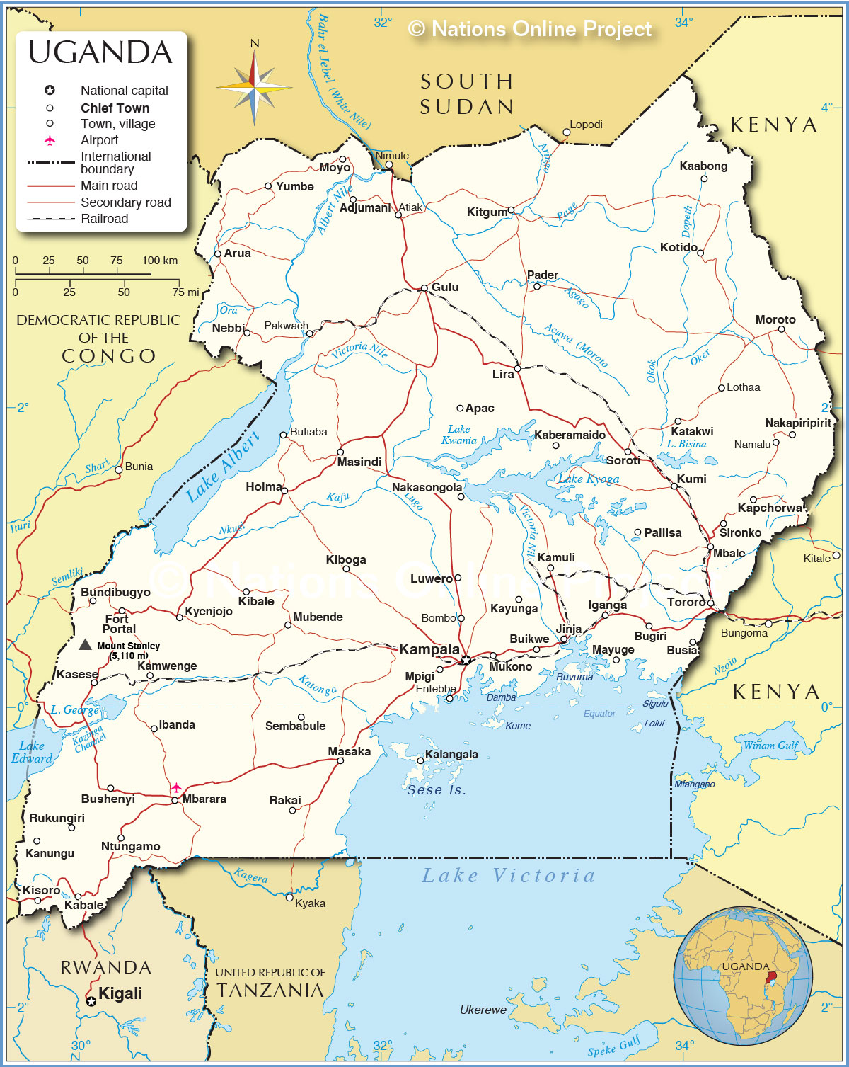 Political map of uganda nations online project political map of uganda gumiabroncs Gallery