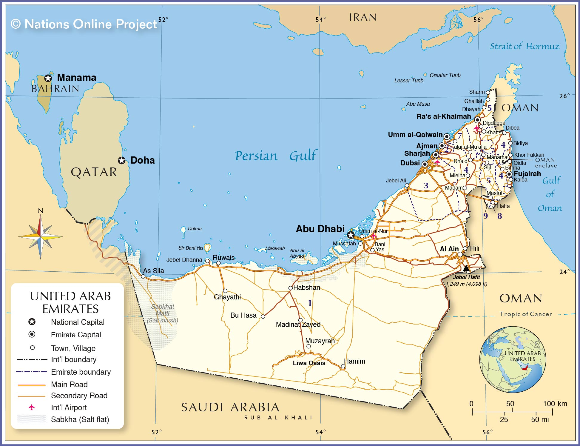 Map Of United Arab Emirates Political Map of United Arab Emirates   Nations Online Project