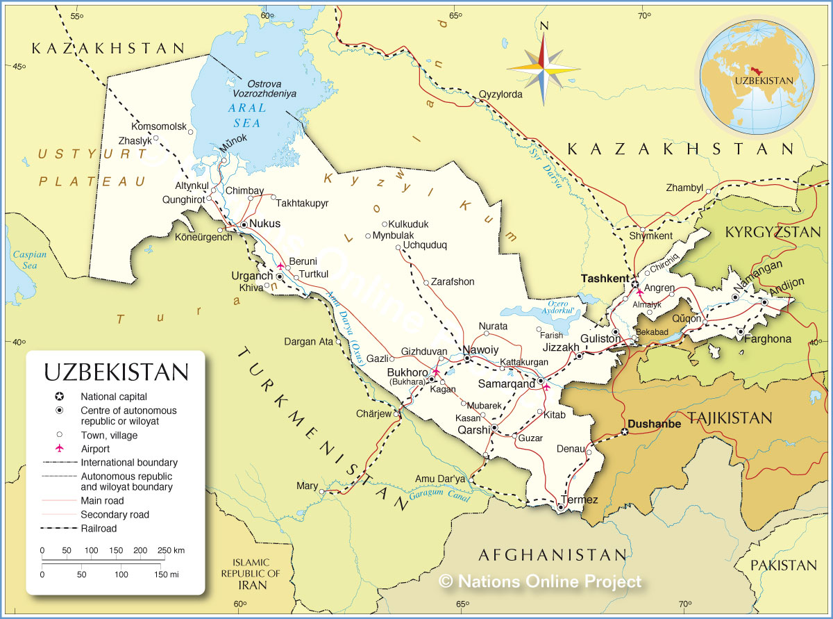 Reference Map of Uzbekistan
