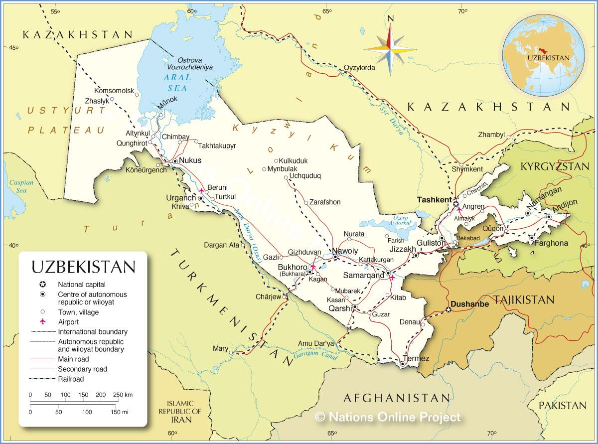 Political Map of Uzbekistan - Nations Online Project