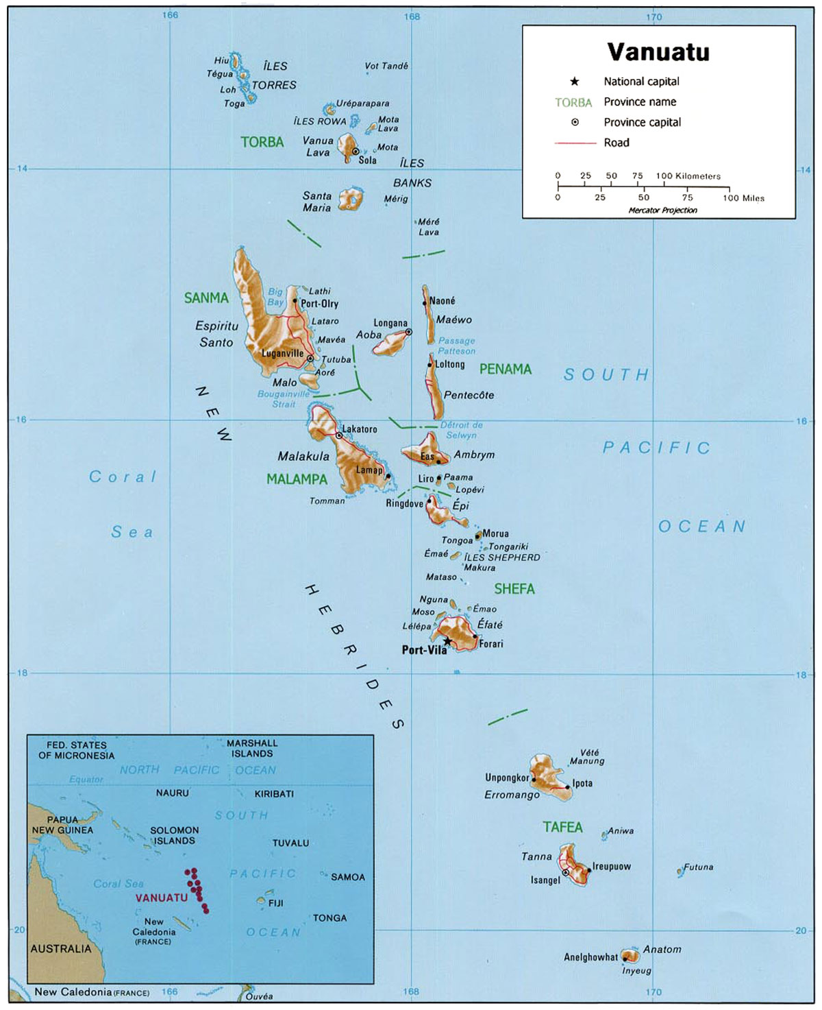 Administrative Map Of Vanuatu Nations Online Project - Vanuatu map