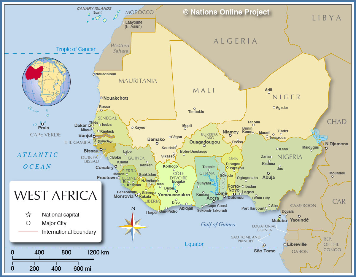 Map West Africa Political Map of West Africa   Nations Online Project Map West Africa