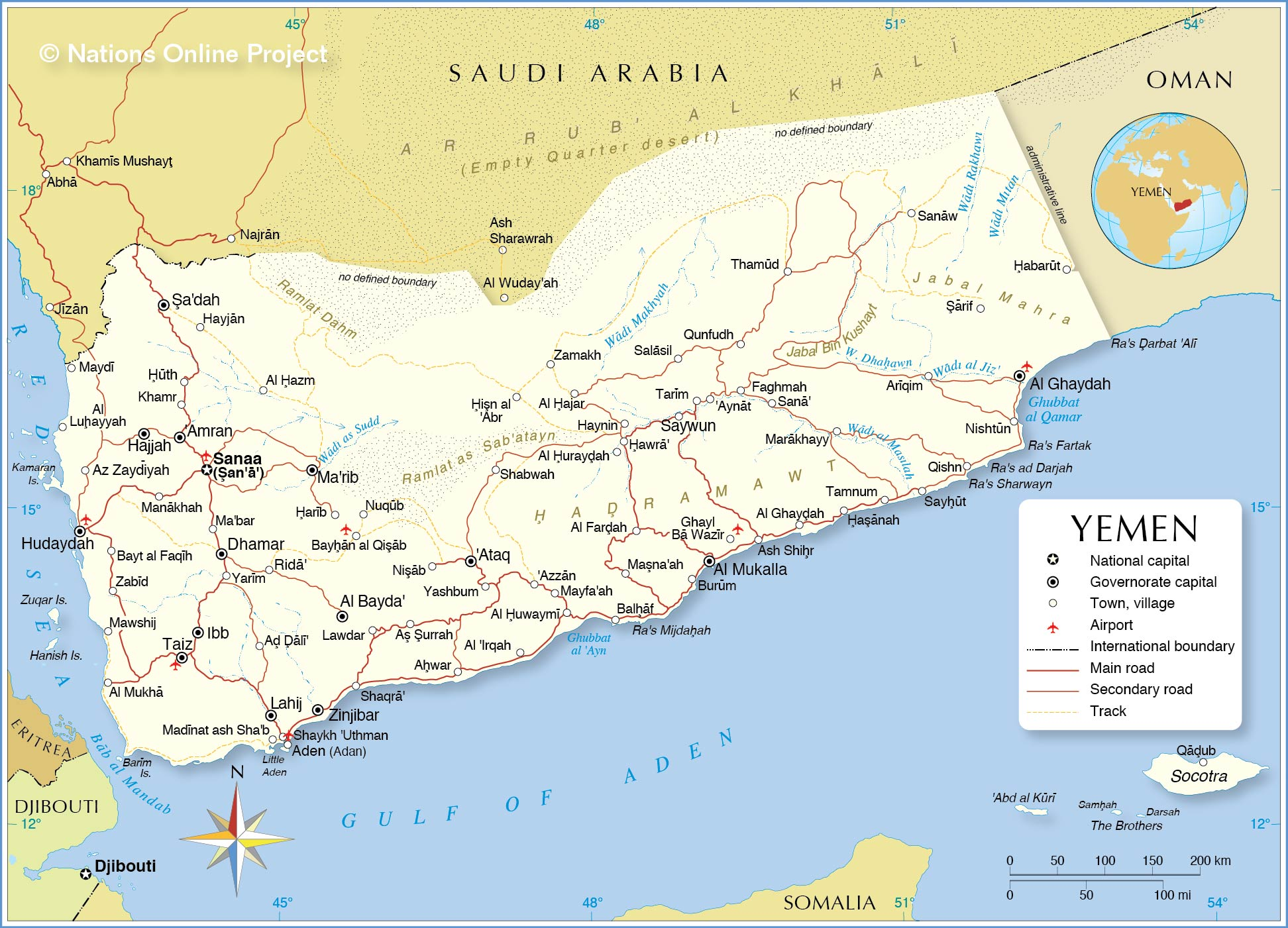 Political Map Of Yemen Nations Online Project - Yemen maps with countries