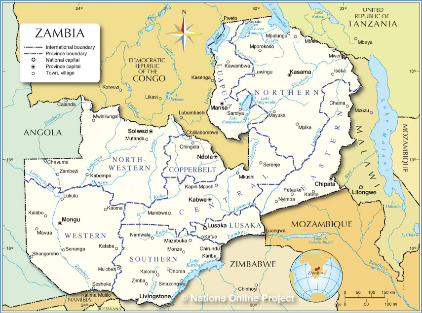 Map Of Zambia Administrative Map of Zambia   Nations Online Project