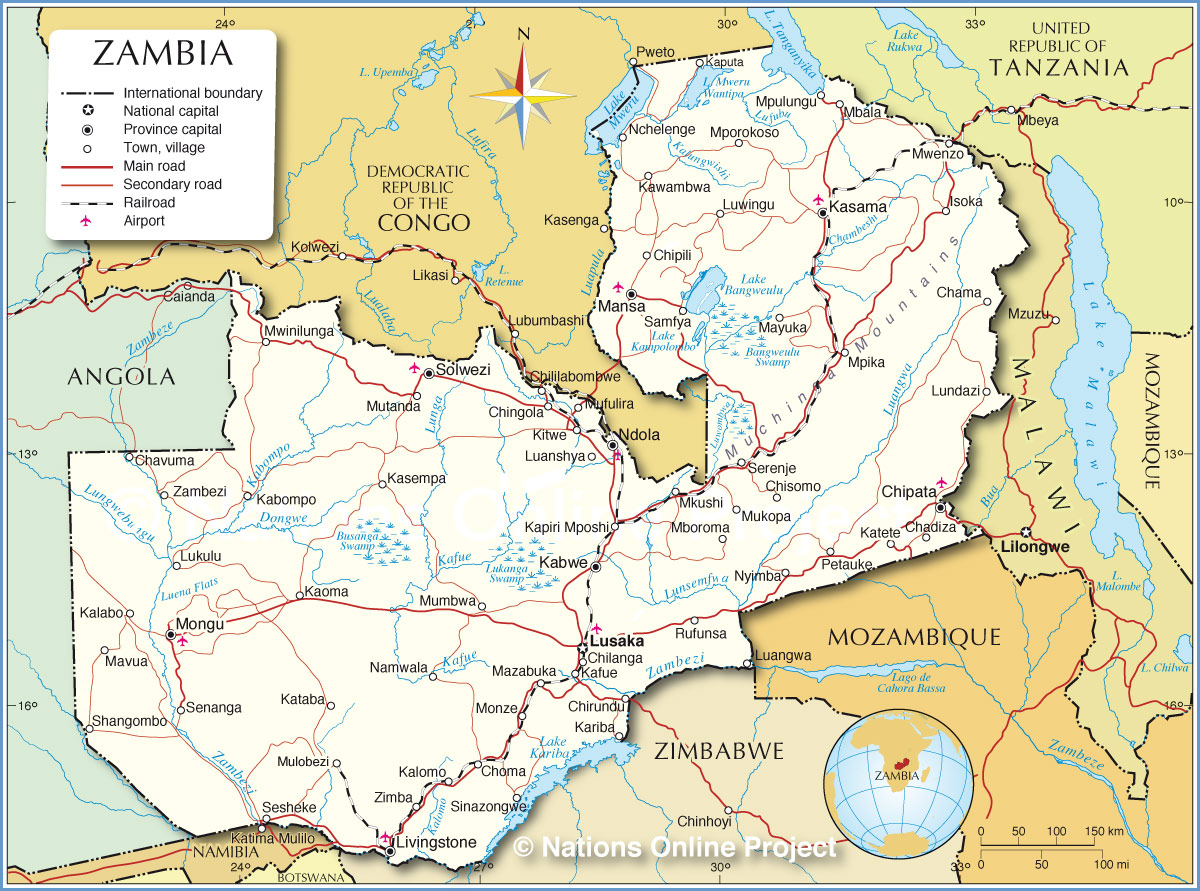 Map Of Zambia Political Map of Zambia (1200 px with)   Nations Online Project