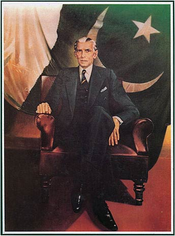 Portrait of Muhammad Ali Jinnah, the founder of Pakistan.